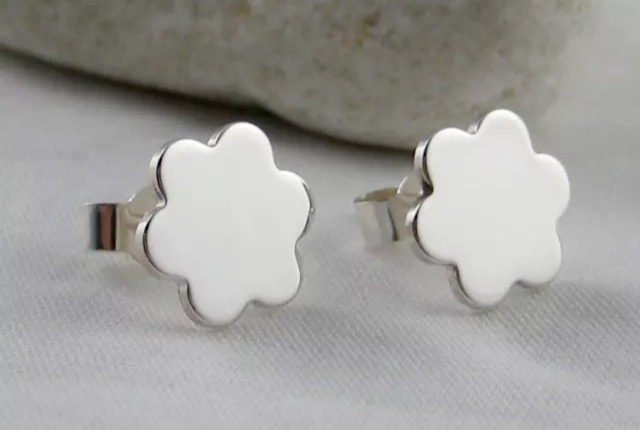 Sterling Silver Flower Petal Ear Studs 9.3mm - Handmade By CMcB Jewellery