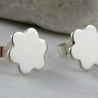 Sterling Silver Flower Petal Ear Stud Earrings 9.3mm Handmade By CMcB Jewellery