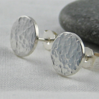 Sterling Silver Sparkly Hammered Round Disc Ear Stud Earrings 8mm