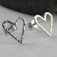 Sterling Silver Sparkly Hammered Heart Ear Stud Earrings 11mm Handmade