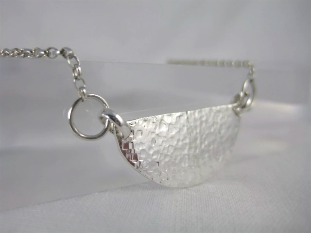 Sterling Silver Sparkly Hammered Crescent Necklace - Handmade By CMcB Jewellery