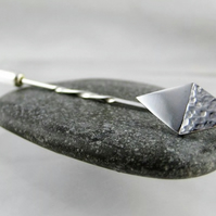 Sterling Silver Diamond Tie, Lapel Stick Pin - Brooch -Handmade