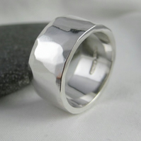 Sterling Silver Hammered  Ring Size N - Handmade By CMcB Jewellery