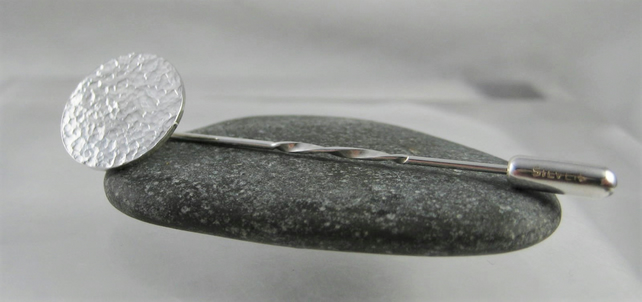 Sterling Silver Sparkly Hammered Disc Stick Pin - Brooch