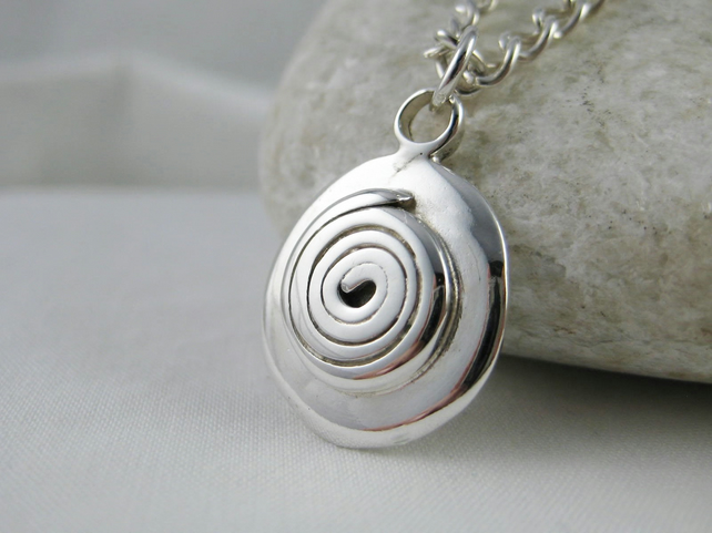 Hand Forged Chunky Sterling Silver Spiral Pebble Pendant Necklace
