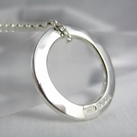 Sterling Silver 925 Hammered Open Circular Pendant Necklace 18 Inches - Handmade