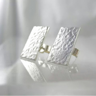 Sterling Silver Sparkly Hammered Rectangular Studs Handmade By CMcB Jewellery