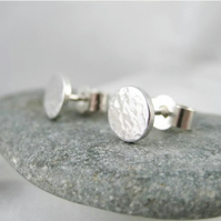 Sterling Silver Hammered Sparkly Stud Earrings 7mm - Handmade