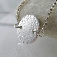Sterling Silver Sparkly Hammered Round Disc Necklace 18""