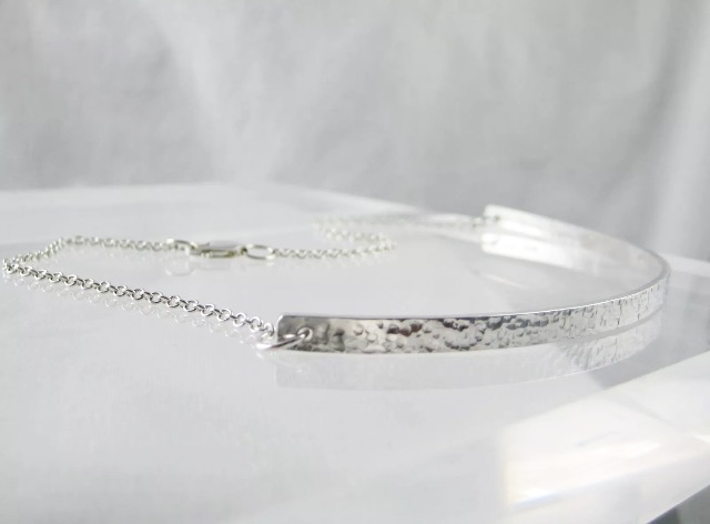 "Sterling Silver Sparkly Hammered Choker Necklace 14"" - Handmade"