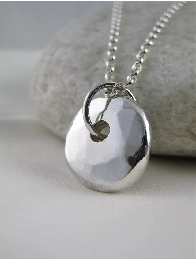 Hand Forged Hammered Chunky Sterling Silver Pebble Pendant Necklace 17""