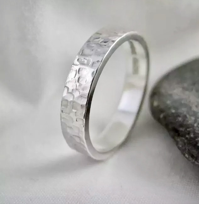 Sterling Silver Sparkly Hammered Ring Size N - Handmade By CMcB Jewellery UK