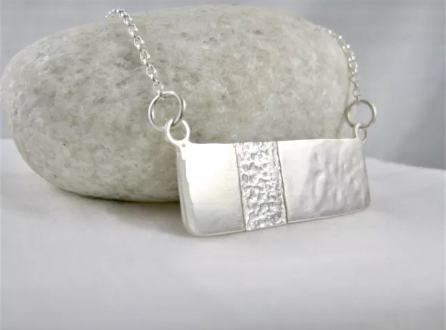 "Abstract Sterling Silver Necklace 16"" - Handmade By CMcB Jewellery"