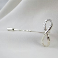Sterling Silver Sparkly Hammered Stick Pin - Brooch