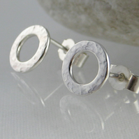 Sterling Silver Sparkly Hammered Open Circular Ear Stud Earrings 8mm - Handmade