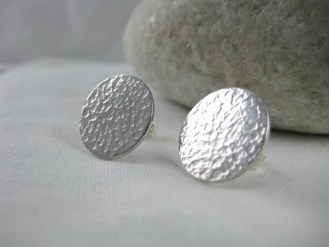 Sterling Silver Sparkly Hammered Disc Ear Stud Earrings 12mm (1.2cm) Handmade