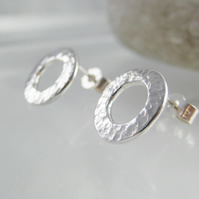 Silver Silver Sparkly Hammered Open Circular Ear Stud Earrings 11mm