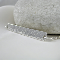 Sterling Silver Sparkly Hammered Rectangular Bar Necklace 17""