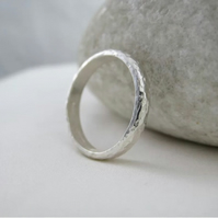 Sterling Silver Sparkly Hammered Stacking Ring Size N