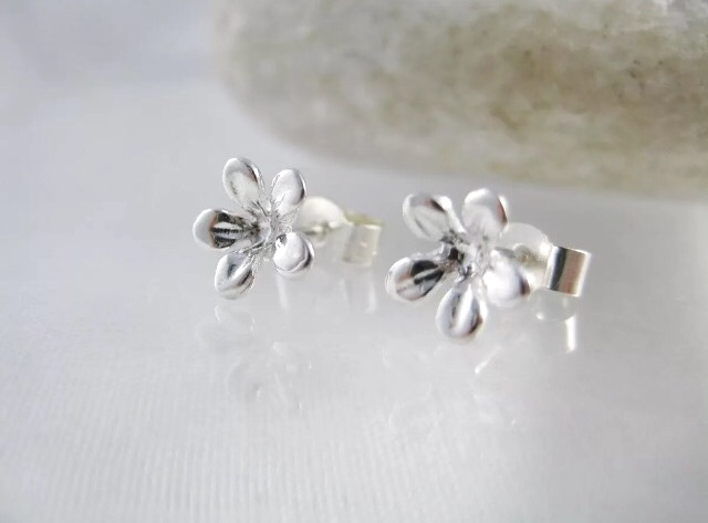 Sterling Silver 3D Flower Ear Stud Earrings 7mm