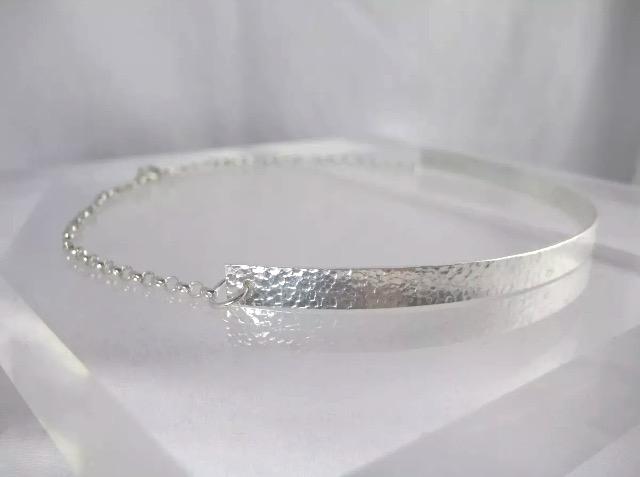 "Sterling Silver Hammered Sparkly Choker Necklace 14"" Handmade By CMcB Jewellery"