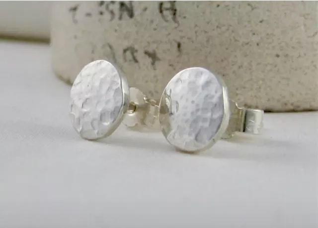 Hand Forged Sterling Silver Sparkly Hammered Pebble Ear Stud Earrings 8mm
