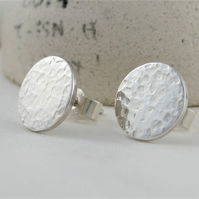 Sterling Silver Sparkly Hammered Round Ear Stud Earrings 10mm (1cm) Handmade