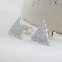 Sterling Silver Sparkly Hammered Triangular Ear Stud Earrings - Free UK postage
