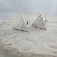 Sterling Silver Sparkly Hammered Triangular Ear Stud Earrings 10mm - Handmade