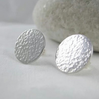 Sterling Silver Sparkly Hammered Round Disc Ear Stud Earrings 13mm - Handmade