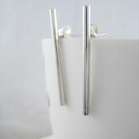 Minimalist Sterling Silver Bar-Stick Earrings 30mm (3cm) - Handmade