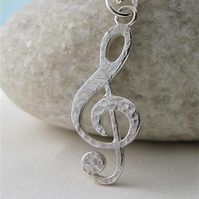 Sterling Silver Sparkly Hammered Treble Clef Pendant Necklace - Handmade