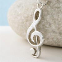 Sterling Silver Treble Clef Pendant Necklace - Handmade