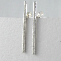 Minimalist Sterling Silver Hammered Textured Bar -Sick Ear Stud Earrings