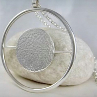 Large Sterling Silver Modernist Abstract Circular Pendant Necklace 40 Inches