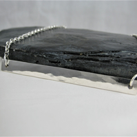 Modernist Abstract Sterling Silver Hammered Rectangular Bar Necklace - Handmade