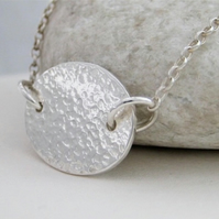 Sterling Silver Sparkly Hammered Oval Disc Necklace 18""