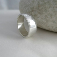 Sterling Silver  Hammered Toe Ring 6mm Wide Standard UK Size H (US-4)