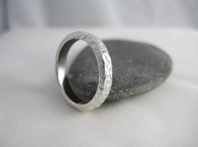 Sterling Silver Sparkly Hammered Ring Size N - Handmade By CMcB Jewellery