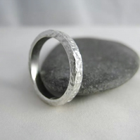 Sterling Silver Sparkly Hammered Ring Size 0 - Handmade By CMcB Jewellery