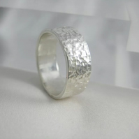 Sterling Silver Sparkly Hammered Toe Ring 6mm Wide Standard UK Size H (US-4)