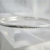 Solid Sterling Silver Hammered Sparkly Textured Stacking Bangle - Sizes S.M.L