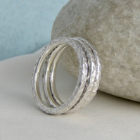Set Of Three Sterling Silver Sparkly Hammered Stacking Rings Size N (2mm)