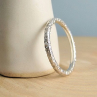 2mm Sterling Silver Stacking Ring Hammered Sparkly Textured Sizes H - Z Handmade
