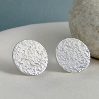Sterling Silver Sparkly Hammerd Round Disc Ear Stud Earrings 15mm - Handmade