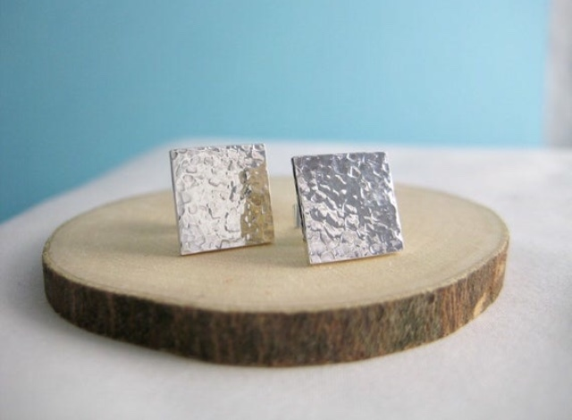 Sterling Silver Sparkly Textured Square Ear Stud Earrings 12mm Handmade