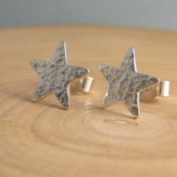 Sterling Silver Hammered Sparkly Textured Star Ear Stud Earrings 10mm - Handmade