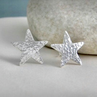 Sterling Silver Hammered Sparkly Textured Star Ear Stud Earrings 15mm Handmade