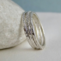 Set of Three 1.5mm Sterling Silver Sparkly Textured Stacking Rings Sizes H-Z