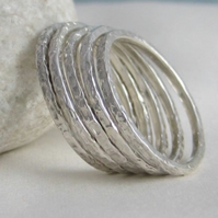 Set of Five 1.5mm Sterling Silver Sparkly Textured Stacking Rings Sizes H-Z